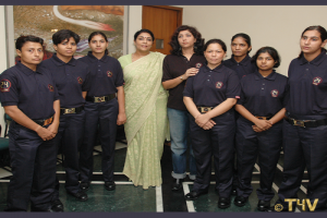 Mrs. Renuka chaudhary with 24 secure women security Guards.